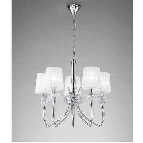 Lámpara grande 5 Luces LOEWE cromo y blanco de Mantra