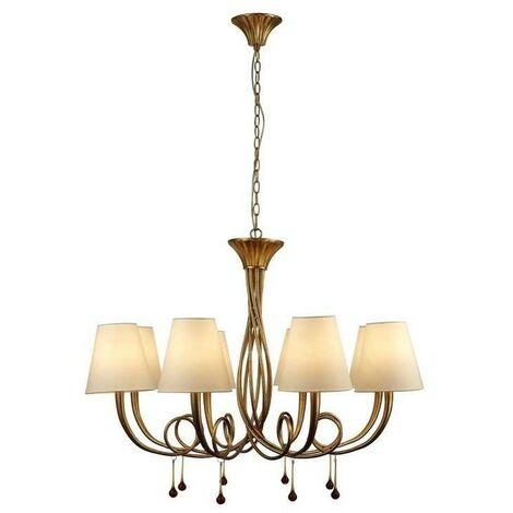 Lámpara grande 8 Luces modelo PAOLA dorada con pantalla crema