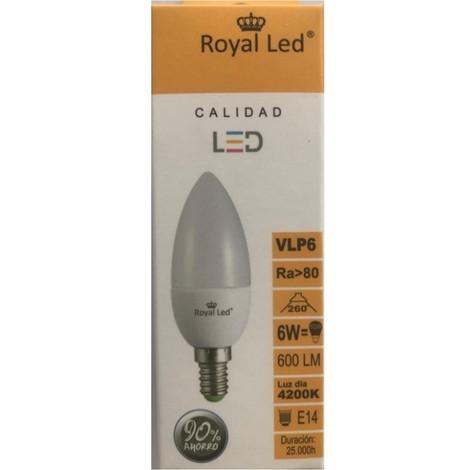 Lampara ilumin led vela e14 6w 600lm 4200k royal led