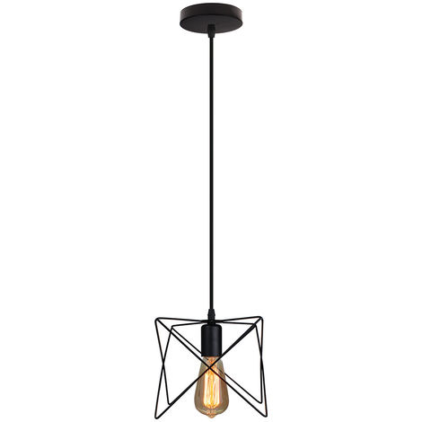 Lámpara Industrial Antigua Lámpara Colgante Creativa Lámpara Colgante de Hierro de Metal para Cafe Bar Loft Negro E27