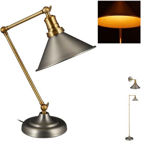 Lámpara industrial de mesa, Pantalla metálica, Ajustable, 42x21x33,5 cm, 1 Ud., Dorado/Gris