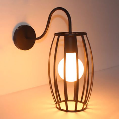 Lámpara industrial de pared de jaula metal E27 Retro Aplique de iluminación para decorar Negro