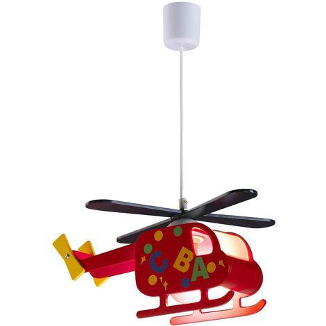 Lámpara infantil de techo Helicóptero Rojo