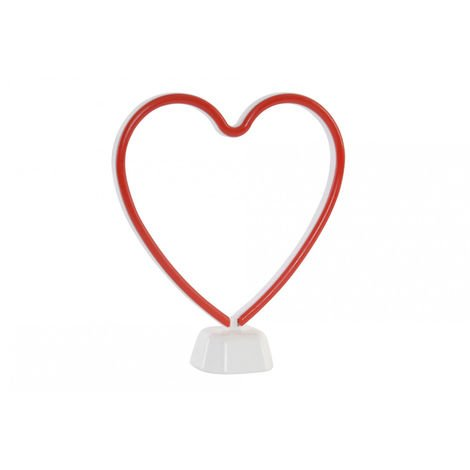 Lámpara Infantil Decoración Luminosa, Corazón Rojo LED. Quita Miedos Nocturno Niños 25X7X28 cm