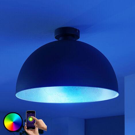 Lámpara LED de techo Bowl WiFi 41cm, negro/plata