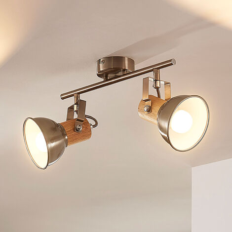 Lámpara LED de techo Dennis con madera, 2 brazos