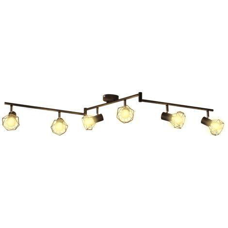 Lámpara LED de techo, estilo industrial, seis focos negro - Nero