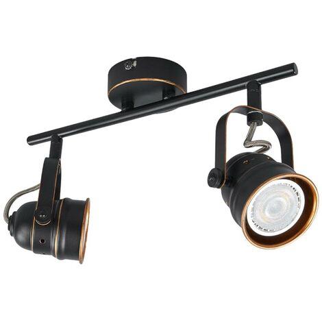 Lámpara LED de techo GU10 Leonor, negro y dorado