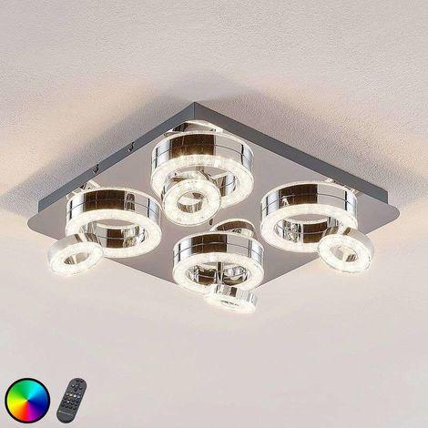 Lámpara LED de techo Mikkel RGBW, 40x40 cm