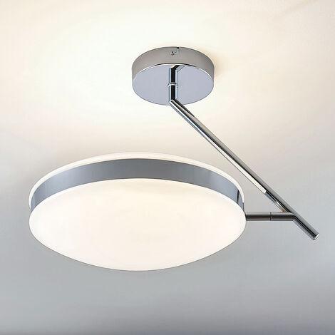 Lámpara LED de techo Niklas con anillo en cromo