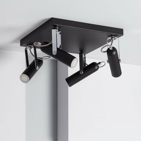 Lámpara LED de Techo Orientable Bari 4 Focos 16W Negro Blanco Neutro 4000K