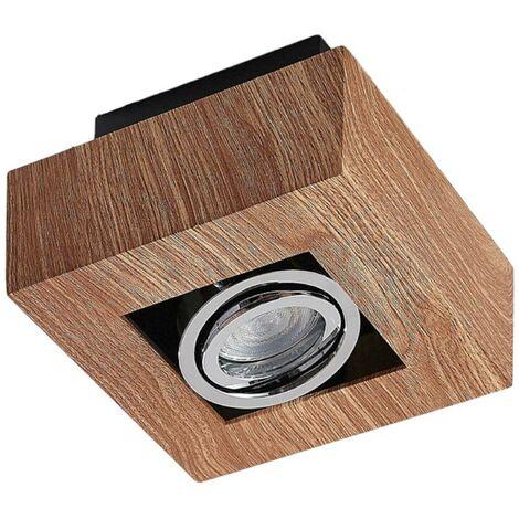 Lámpara LED de techo Vince 14x14cm look madera
