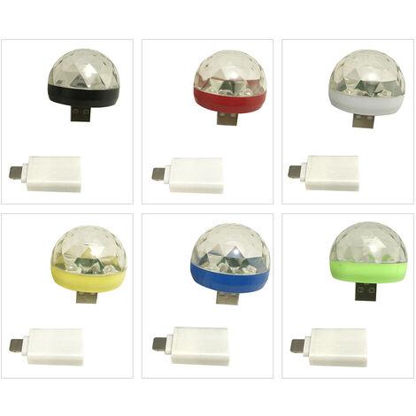 Lampara LED esfericas de paso Light Magic RBG mini luz del disco giratorio de USB y Rayo escenario portatil partido casero, luz color al azar