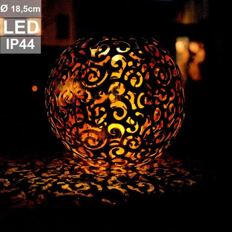 Lámpara LED solar enchufable bola proyector de jardín decoración de plata patrón lámpara de espiga al aire libre Globo 33743S