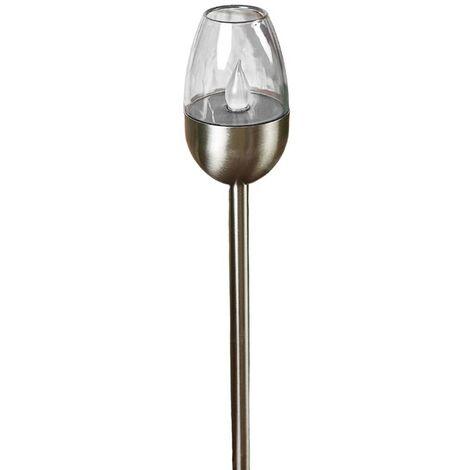 Lámpara LED solar Lugin acero inoxidable, 3 uds.