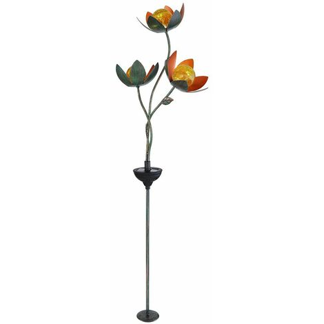 Lámpara LED SOLAR para exteriores, enchufable, con punta de tierra, flores, flores, jardín, bola de cristal, decoración, lámpara ORO