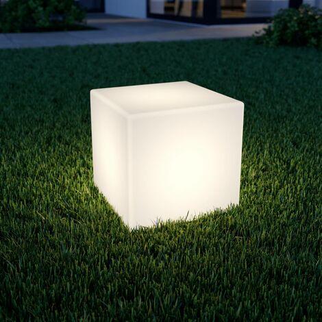 Lámpara LED solar Ziva con forma cúbica, blanco