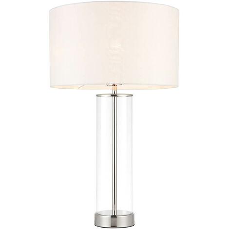 Lámpara Lessina, níquel brillante, con pantalla