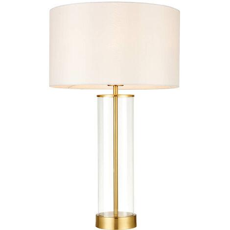 Lámpara Lessina, oro cepillado, con pantalla.