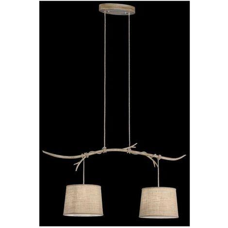 Lámpara lineal 2 Luces SABINA imitación madera, para comedor