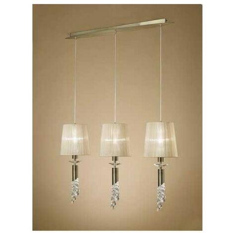 Lámpara lineal 3 luces TIFFANY cuero de Mantra