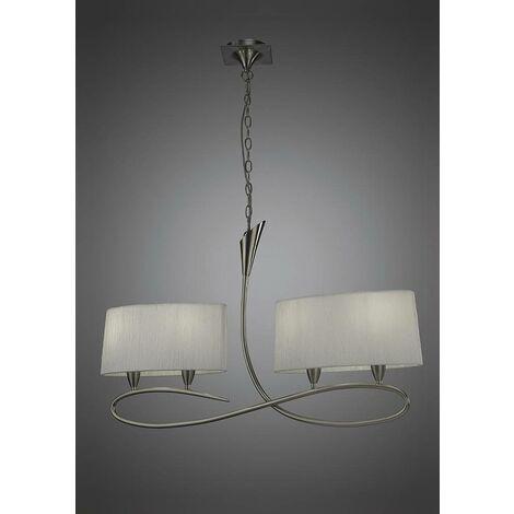 Lámpara lineal 4 Luces LUA gris ceniza con dos pantallas ovaladas