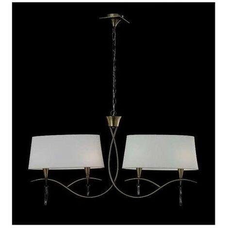 Lámpara lineal con dos pantallas ovaladas MARA cuero sat. 4 luces