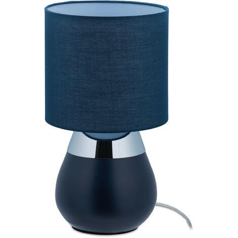 """main image of """"Lámpara Mesita Noche Táctil, Rosca E14, Luz Sobremesa, Forma Ovalada, con Pantalla, 32 x 18 cm, Azul Oscuro"""""""