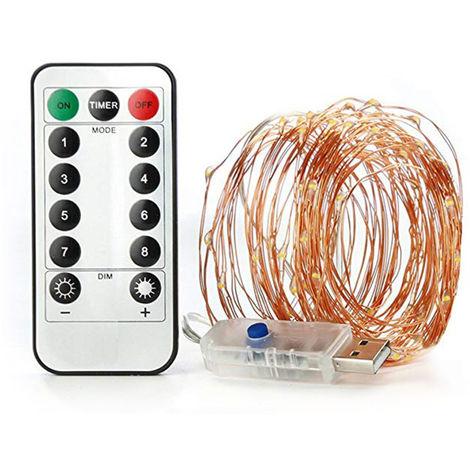 Lampara navidena Fairy String Lights, 100 LED, 10M / 32.8ft, blanco calido