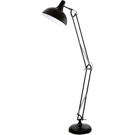 Lámpara negra de pie, EGLO Borgillio 94698