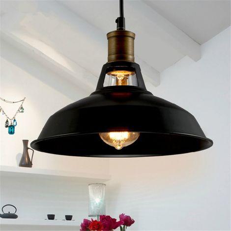 Lámpara Negra de Techo Retro Colgante Iluminación de 270mm,E27 Lámpara de Hierro Industrial para Decoración de Sala de estar Cocina Restaurante Bar