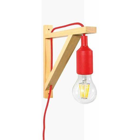 """Aplique de pared nórdico """"YOJO"""" escuadra de madera y colgante de silicona   Rojo"""