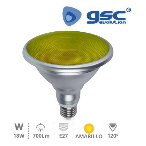 Lámpara PAR38 LED SMD 18W E27 Amarillo IP65