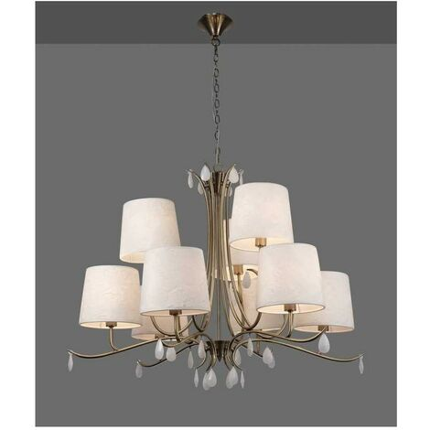 Lámpara para salon clasico ANDREA cuero sat. 9 luces