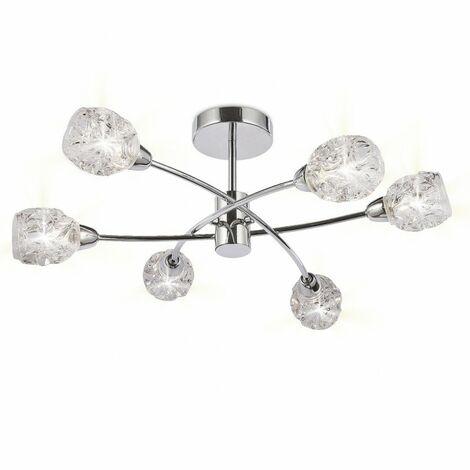 Lámpara para salon de 6 luces GARBO cromo de ALEMAR