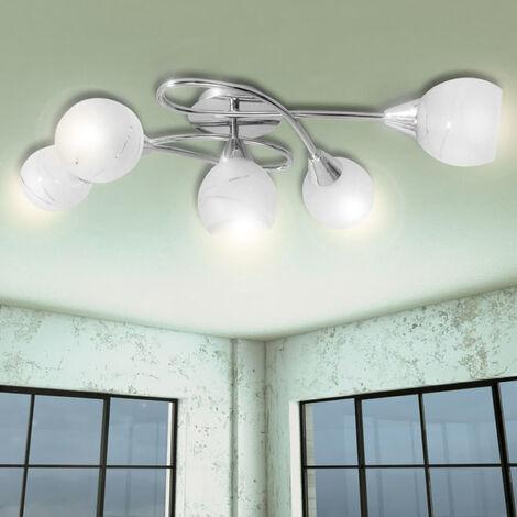 Lampara para techo con tulipas de vidrio para 5 bombillas tipo E14