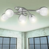 Lámpara para techo con tulipas de vidrio para 5 bombillas tipo E14