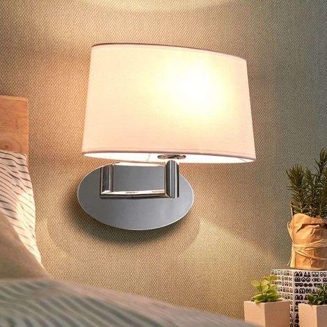Lámpara pared de tela Akita blanca, armazón cromo