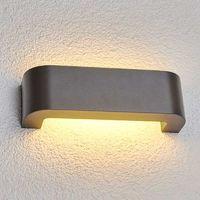 Lámpara pared exterior LED Eberta en gris grafito