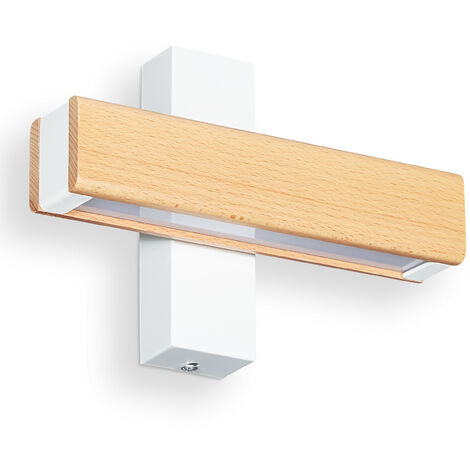 Lámpara Pared LED, Luz Indirecta, Aplique para Pasillo y Escaleras, Hierro-Madera-Cristal, 4,5x21x8 cm, Blanco