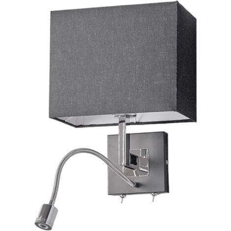 Lámpara pared tela negra Rebekka brazo lectura LED