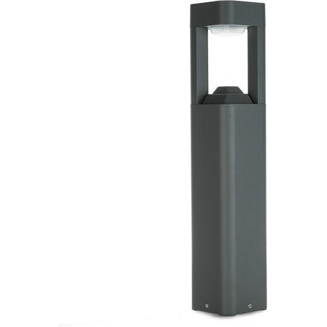 Lámpara Pie LED Exterior IP54 120x600mm 10W Gris Aluminio + PC [SL16-080B_G-WW] | Blanco Cálido (SL16-080B_G-WW)