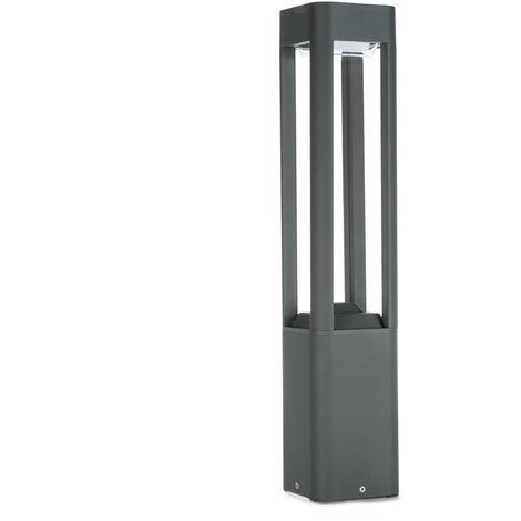 Lámpara Pie LED Exterior IP54 120x600mm 10W Gris Aluminio + PC [SL19-C002A_G-WW] | Blanco Cálido (SL19-C002A_G-WW)