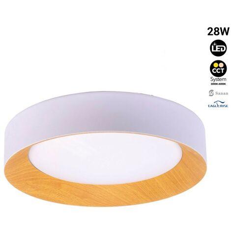 Lámpara plafón de techo LED 28W blanco + madera Ø450mm