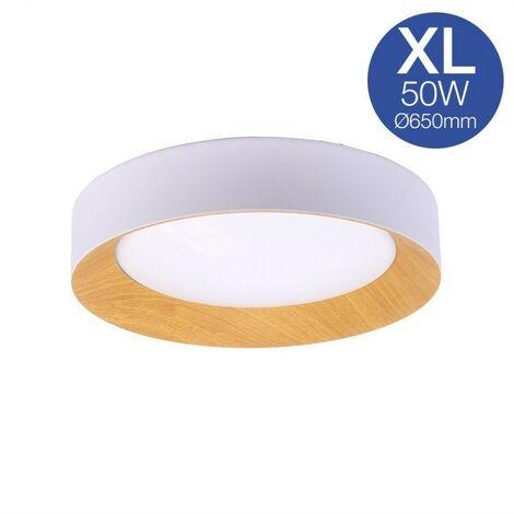 Lámpara plafón de techo LED 50W blanco + madera Ø650mm