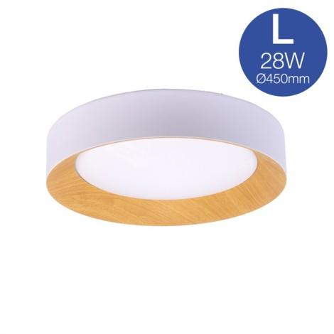 Lámpara plafón de techo LED blanco + madera