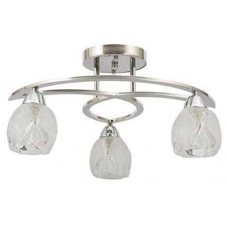 Lámpara Rosario cromo/cristal 36x42