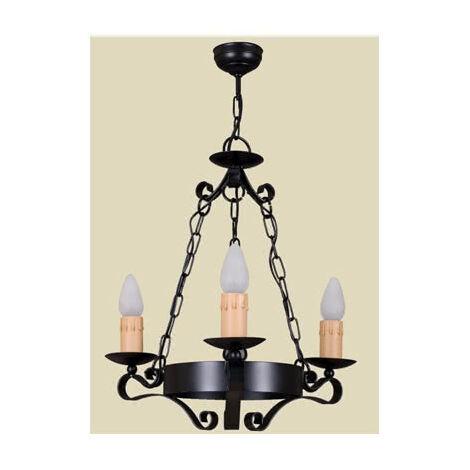 Lámpara Rustica 3lxe27 60w Negro(50x50)