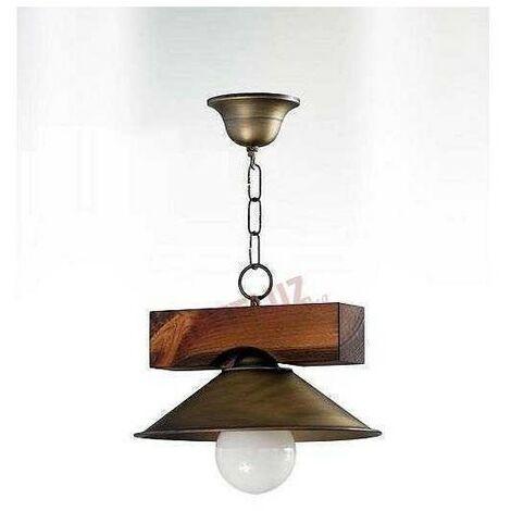 Lámpara rustica con pantalla de metal 1 luz.