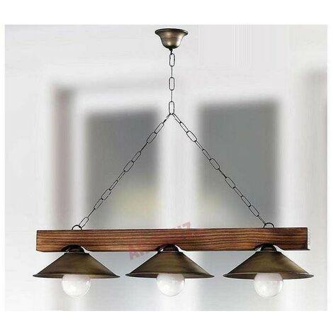 Lámpara rustica con pantallas de metal 3 L.